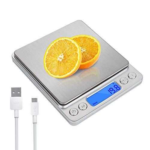 3T6B - Bilancia da cucina elettronica a LED, archiviazione USB, bilancia di precisione 0,01 g, bilancia da cucina, bilancia di precisione da cucina con funzione tara e conta