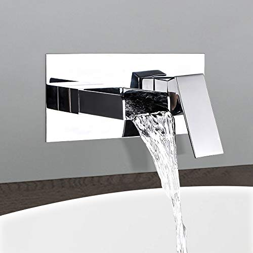 BULUXE Waterfall Bathroom Sink Faucet Wall Mounted, Sinlge Handle Bathroom Faucets Use for Vessel or Basin Sinks, Polished Chrome Finish Faucet in Modern Design