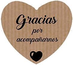 100 Etiquetas adhesivas corazón Gracias por acompañarnos (texto en español)