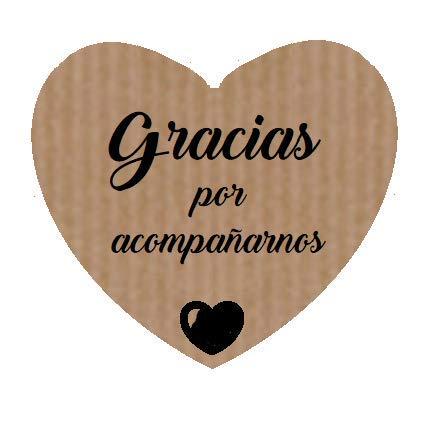 100 Etiquetas adhesivas corazón Gracias acompañarnos