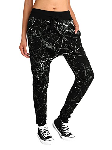 BAISHENGGT Women's Drop Crotch Hip Hop Jogger Harem Pants Medium Black Print