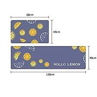 キッチンマット ノルディックキッチンフロアマット、家庭用ポリ塩化ビニールのカーペット、長いフットマット、洗えるレザーファブリック、拭き取る フロアコンフォートマット (Color : D, Size : 40*60CM+40*120CM)