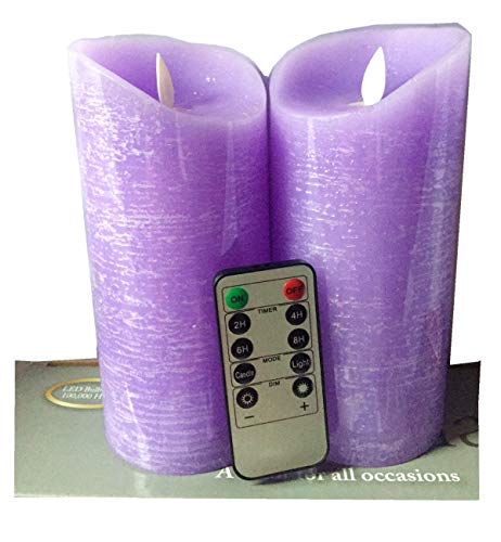 Adoria Purple Led Candles Gift Set -Real Wax Rustic Looking Dancing Flame Battery Candles -24 Hour Cycle Timer,3.15x7 Inch, Set of 2, Light Lavendar Scent