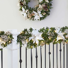 9' LED Gold & Ivory Magnolia Artificial Garland