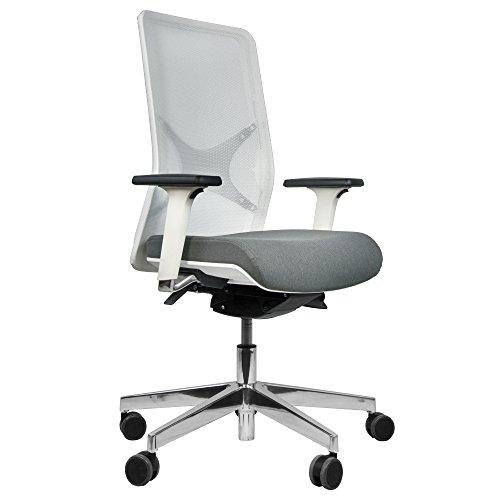 Bürodrehstuhl Wind Weiß/Grau - Ergonomischer Premiumdrehstuhl - Bürostuhl - Drehstuhl