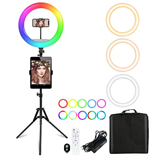 RGB Anillo de Luz Trípode LED 18' (48CM), Aro de Luz para Tableta/Móvil con Control Remoto Bluetooth & RGB, 19 Colores + 10 Niveles Brillo, para Tiktok Live Selfie Youtube