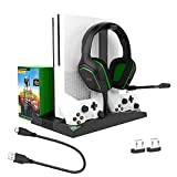 DoinMaster 6 in 1 Multifunctional Vertical Stand with Dual Controller Charger Dual Cooling Fans Game Cards Storage Headphone Stand Two Contact Adapters Compatible with Xbox One/Xbox One X/Xbox One S