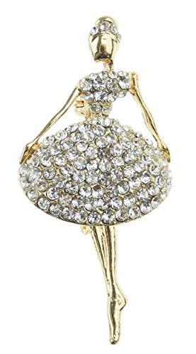 Glamour Girlz dames mannen dans liefhebber gouden toon diamante kristal bruiloft avond broche ballerina