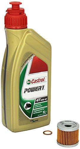 Castrol Power1 (10W-40) Ölwechsel-Set  DR 125 SM, Bj. 08-12 - Motoröl, Mahle Ölfilter und Dichtring