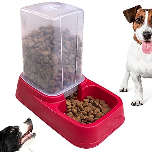 Grattitude®- Distributore Cibo gatti- e- crocchette cani - Dispenser cibo gatti- Distributore cibo cani - dispenser acqua- Serbatoio acqua 3 lt / 8lt - Piedini di gomma antiscivolo. (3 lt, Rosso)