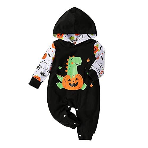 BIBOKAOKE Strampler Baby Halloween Kürbi Baby-Halloween-Kostüm für Mädchen Jungen Neugeborene Hoodie Romper Body Niedlicher Jumpsuit Kleinkind Bekleidungsset Overall Babykleidung Set 3-18 Monate