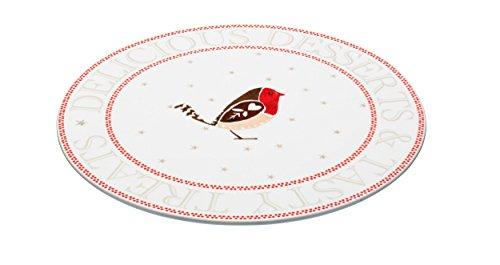 Kitchencraft–Little Red Robin Porcelana Plato para tartas/–Bandeja para quesos de Navidad, 30cm (12), color blanco