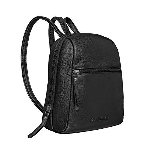 STILORD 'Lia' Mini Rucksack Damen Leder Kleiner Daypack Lederrucksack Vintage Rucksackhandtasche für City Ausgehen Shopping Frauen Tagesrucksack XS Echtleder, Farbe:schwarz