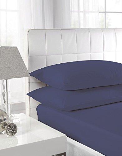 Draps 100 % coton égyptien de 40 cm de profondeur - 15 couleurs disponibles, Coton, bleu marine, Simple