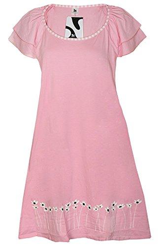 Nanso Short Dress/kurzes Nachthemd Hauskleid Sleepshirt Gr. XS S M L (34-36 / S, Rose-schwarz-Weiss)