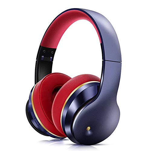 Wsaman Stereo Wireless Wired Headset, Studio DJ Headphones Bluetooth Over Ear Foldable Built-in Mic with Microphone and Volume Control for PC/Cell Phones/TV/Ipad Professional Gaming Headset,Blue