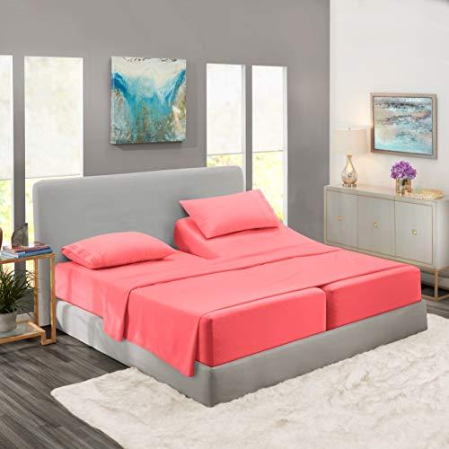 Nestl Bedding Soft Sheets Set – 5 Piece Bed Sheet Set, 3-Line Design Pillowcases – Wrinkle Free – 2 Fit Deep Pocket Fitted Sheets – Free Warranty Included – Split King, Coral Pink