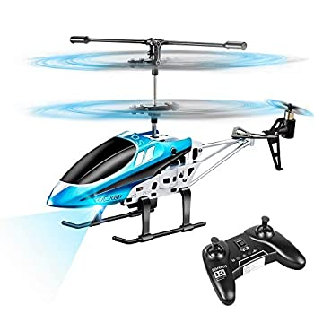 VATOS RC Helicopters Remote Control Helicopter with Gyro and LED Light 3 Channel Alloy Mini Helicopter Remote Control for Kids & Adult Indoor Micro RC Helicopter Best Helicopter Toy Gift