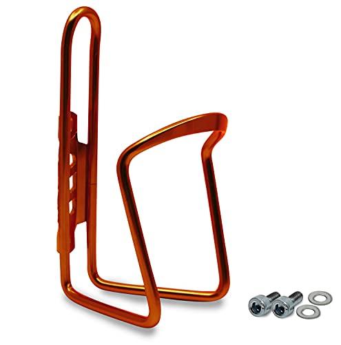 Flaschenhalter Fahrrad Orange aus Aluminium Extra Verstärkt für Rennrad MTB Trekkingrad Kinderfahrrad Universal Passend Getränkehalter mit Montageschrauben Trinkflaschenhalter Trinkflaschenhalterung