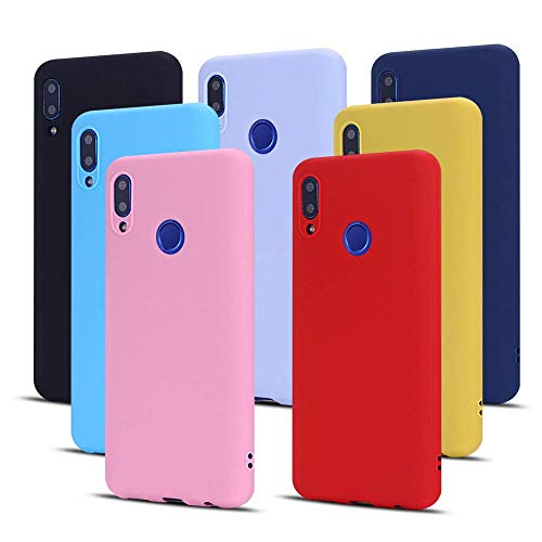 Meeter 7 x Funda para Huawei P Smart 2019 / Honor 10 Lite, Ultra Fina Carcasa Silicona TPU de Alta Resistencia y Flexibilidad (Negro + Rojo + Azul Oscuro + Rosa + Lavanda + Amarillo + Azul Cielo)