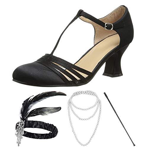 1920s Shoes for Women, Lucille Dress Salsa Dance Pump,Flapper Headband,Cigarette Holder for Great Gatsby Costume Accessories,9M
