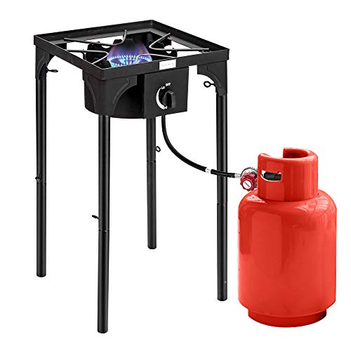 ROVSUN Single Propane Burner Outdoor Gas Stove, 20psi Regulator, High Pressure Portable Cooker Camp Cooking Home Brewing