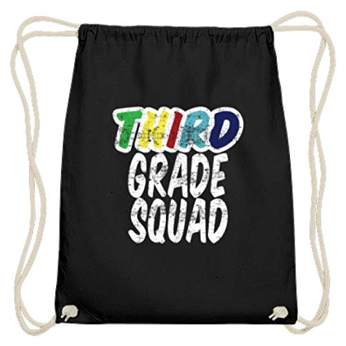 SPIRITSHIRTSHOP Third Grade Squad - Drittklässler - Schüler, Schülerin, Dritte Klasse, Schule Besuchen, 3. - Baumwoll Gymsac -37cm-46cm-Schwarz