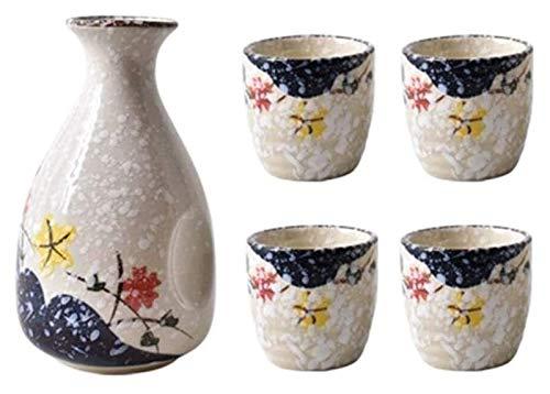 Set de sake Set Japanese Sake Cup Set de nieve Copo de nieve Vino de cerámica Conjunto de vinos de 5 piezas 11 tazas de diseño de vino de cerámica de diseño de flores único, adecuado para frío / cálid