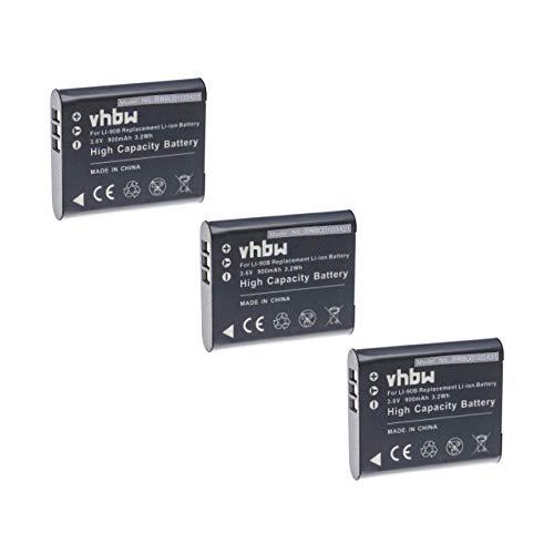 vhbw 3X Baterías adecuadas para cámara, videocámara Olympus TG-6 reemplaza Li-90B, Li-92B...
