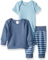 Hanes Ultimate Baby Flexy Fleece Jogger with Sweatshirt and Bodysuit Set, Blue Stripe, 18-24 Months