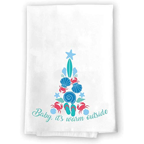Christmas Decor   Decorative Kitchen and Bath Hand Towels   Baby It's Warm Outside   XMAS Winter Novelty   White Towel Home Holiday Decorations   Gift Present