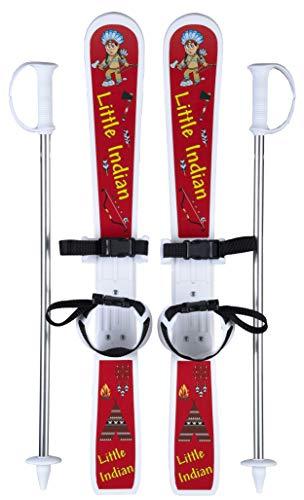 GPO Little Indian zestaw narciarski dla dzieci   narty w zestawie z kijkami i wiązaniem paska dla dzieci   długość: 70 cm   idealny dla początkujących w wieku od 2 do 4 lat