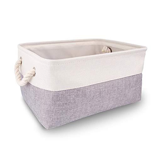 Mangata Caja de Almacenamiento Ropa, cestas de almacenaje Tela, Plegable Cajas organizadoras para Juguetes, armarios (Medio, Gris Blanco)
