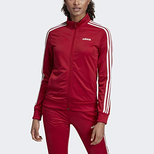 adidas Essentials Women's Tricot Track Jacket, Active Maroon/White, Small