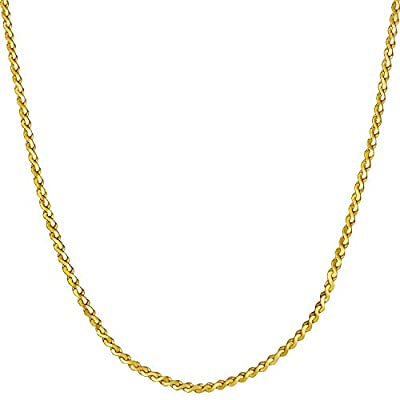 Lifetime Jewelry Gold Necklace for Women & Girls [ 1.4mm Serpentine Chain ] 20X More Real 24k Plating Than Other Thin Pendant Necklaces - Dainty and Simple - Lifetime Replacement Guarantee 16'' (22.0)