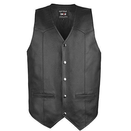 DEFY Men's Motorbike Vest Club Style Classic Genuine Leather Vest with Gun Pockets Full Solid Back (4XL)