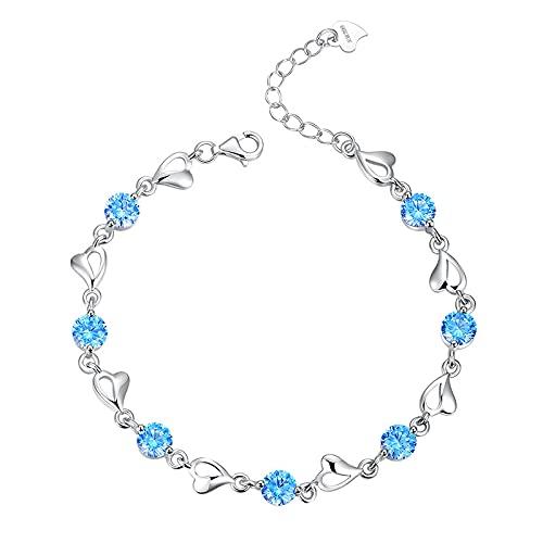 Pulsera de amor de plata pura s999, pulsera de moda para mujer, regalo de San Valentín, pulsera de corazón personalizada 海蓝锆石款