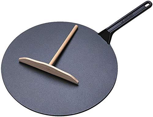 Le Creuset gietijzeren prepespan met ijzeren steel, incl. houten schuif, Ø 32 cm, rond, geschikt voor alle warmtebronnen incl. inductie, 3,275 kg, kersenrood
