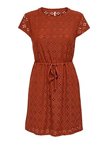 ONLY Damen ONLSONIA S/S Dress JRS Kleid, Burnt Henna, S