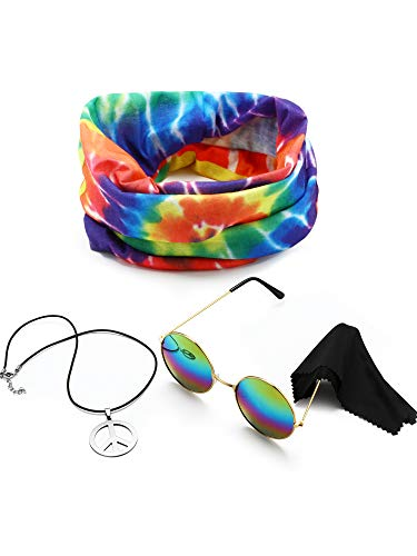 3 Pieces Hippie Costume Set, Include Peace Sign Necklace, Headband, Sunglasses for Theme Parties (Style A)