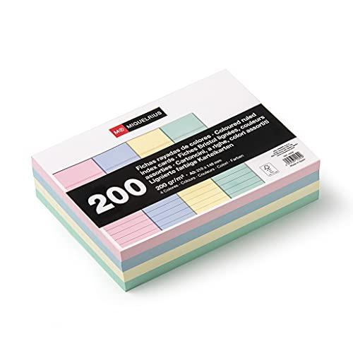 Miquelrius - Flashcards Tarjetas para Estudio, Fichas para Notas, Rayas Horizontales, Tamaño A5, 105 x 74 mm, Colores Pastel