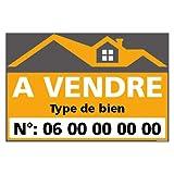 Panneau Immobilier Personnalisable à Vendre avec Oeillets aux 4 Coins - Orange - Plastique Rigide AKILUX 3,5mm - Dimensions 600x400 mm - Protection Anti-UV
