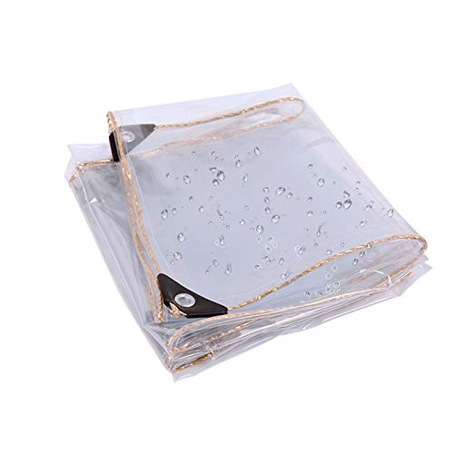 PENGFEI Transparent Tarpaulin Heavy Duty, Outdoor Waterproof Thickened PVC For Window Balcony Rain Cloth, Hole Distance 50cm, Size Customization (Color : Clear, Size : 2.4x6m)