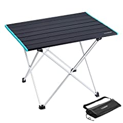 LIGHTWEIGHT AEROSPACE-GRADE ALUMINUM ALLOY: Super durable camping table is built with aerospace-grade aluminum alloy that is coated with spray and anodizing beautiful colors. 2.8lbs ultra-light design withstands weights of up to 50lbs. with proper ca...