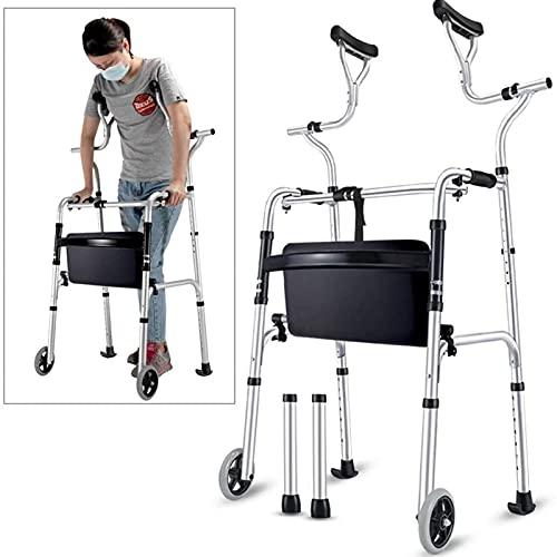 WANGXNCase Andador para Personas Mayores con Soporte axilar, muleta Plegable de Aluminio Resistente con Ruedas, Andador Vertical para Personas Altas, Carga 190 kg
