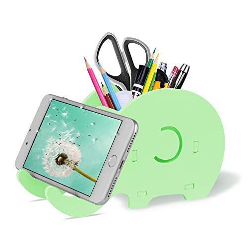 COOLOO Cell Phone Stand, Cute Elephant Phone Stand Tablet Desk Bracket with Pen Pencil Holder Compatible Tablet Nintendo Switch iPhone Smartphone, Desk Decoration Multifunctional Stationery Organizer