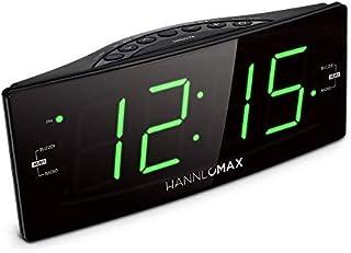 HANNLOMAX HX-112CR Alarm Clock Radio, PLL AM/FM Radio, Green LED 1.8 inches Jumbo Display, Dual Alarm, Dimmer, AC Operatio...