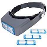 Headband Magnifier, Fozela Head-mounted Reading Magnifier Loupe Head Wearing with 4 Magnifications