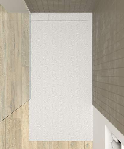 VAROBATH - Plato de ducha de Resina PLASTER Blanco - Textura pizarra, mineral, antideslizante y antibacteriano. Fabricado en España. (80x160)