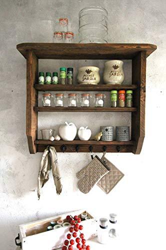 Holz Küchenregal für Gewürze braun Shabby Vintage fertig montiert